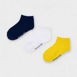 Komplet 3 par skarpetek dla chłopców Mayoral 10055-42 biały/żółty/granat