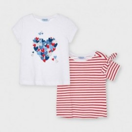 Komplet 2 koszulek z krótkim rękawem dla dziewczyn Mayoral 3009-28 biały/czerwony