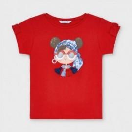 Koszulka z nadrukiem dla dziewczynek Mayoral 3016-78 czerwony