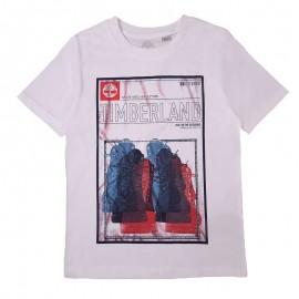 Koszulka z krótkim rękawem chłopięca TIMBERLAND T25R75-10B kolor biały