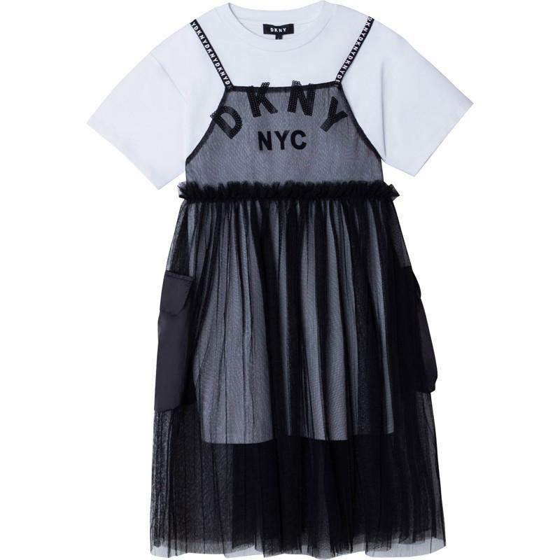 DKNY D32798-09B Sukienka dwuczęściowa dziewczęca kolor czarny