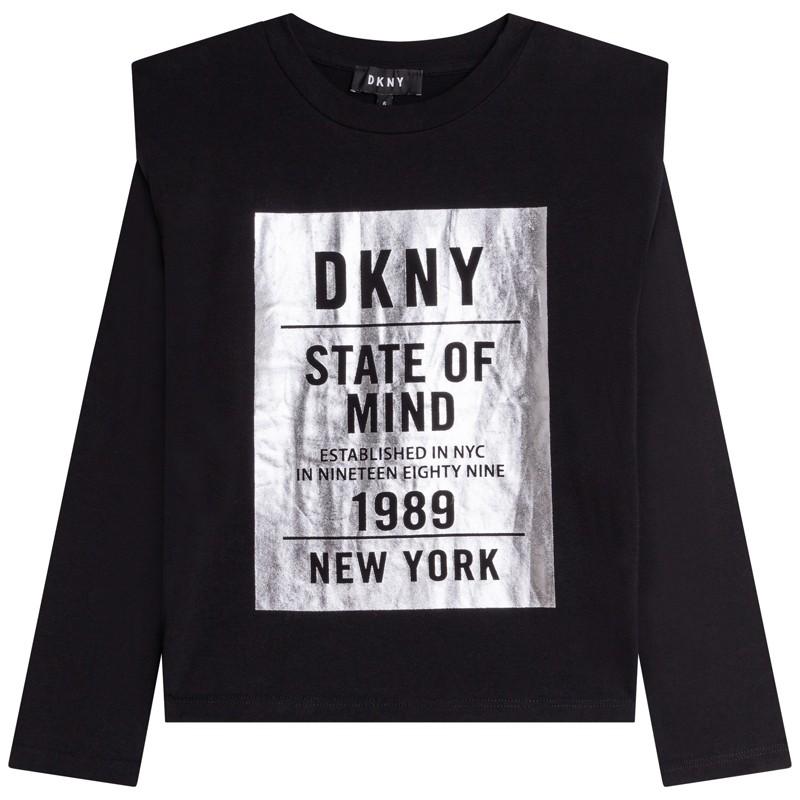 DKNY D35R69-09B Koszulka z długim rękawem dziewczęca kolor czarny