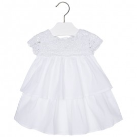 Mayoral 1982-71 Sukienka popelina z koronką kolor Biały