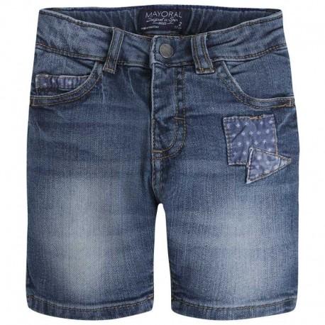 Mayoral 3216-50 Bermudy jeans 5 kieszeni łaty kolor Ciemny