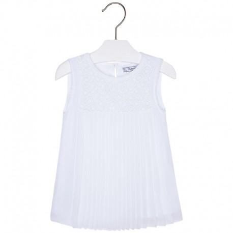 Mayoral 3182-56 Bluzka plisowana z koronką kolor Biały