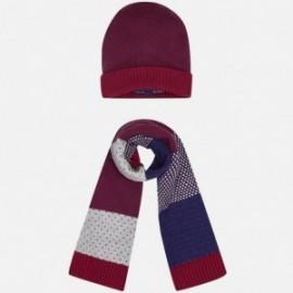 Mayoral 10007-29 Kompl. czapka szalik kolor Bordowy