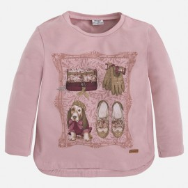 Mayoral 4048-11 Koszulka d/r kraty pies kolor Różowy