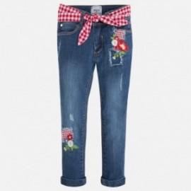 Mayoral 3531-62 Spodnie długie jeans z haftem kolor Medio