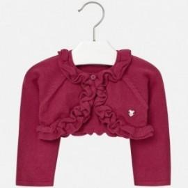 Mayoral 2324-92 Sweter rozpinany trykot falbanki kolor Czerwona porzeczka