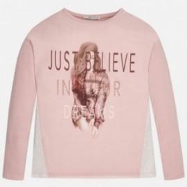 """Mayoral 7048-49 Koszulka długi rękaw """"just believe"""" kolor Różowy"""