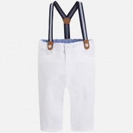 Mayoral 1517-37 Długie spodnie szelki kolor Biały