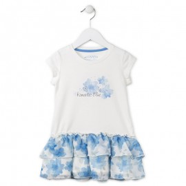 Losan 716-7019AD sukienka kolor ecri/niebieski