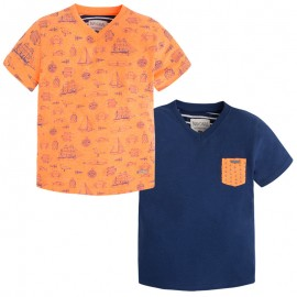 Mayoral 3038-96 Kompl. 2 koszulki nadruk/gład kolor Papaya flu