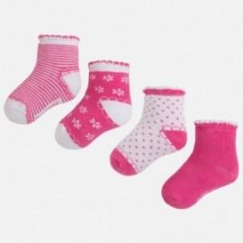 Mayoral 9457-33 sada 4 páry ponožky barva azalka
