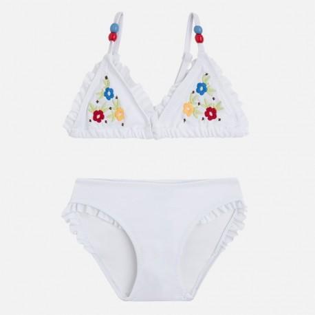 Mayoral 3727-33 Bikini kwiat haftowany kolor Biały