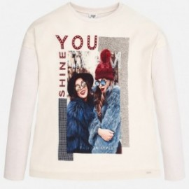 Mayoral 7057-73 tričko dlouhý rukáv dívky barva marcipán