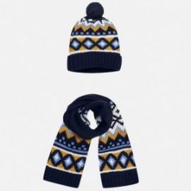 Mayoral 10221-17 Komplet czapka szalik żakard kolor Granatowy