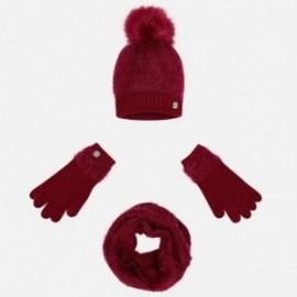 Mayoral 10324-48 Komplet czapka szalik rękawic kolor Bordowy