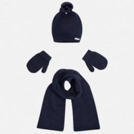 Mayoral 10239-14 Komplet czapka szalik rękawiczki kolor Granatowy