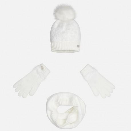 Mayoral 10324-50 Komplet czapka szalik rękawic kolor Kremowy