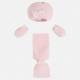 Mayoral 9605-38 Czapka szalik i rękawiczki kolor Róż