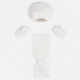 Mayoral 9605-39 Czapka szalik i rękawiczki kolor Kremowy