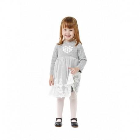 Losan 728-7790AD-717 sukienka dzianina tiul kolor szary
