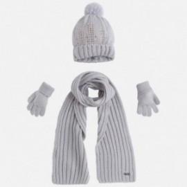 Mayoral 10292-63 Komplet czapka szalik rękawic kolor Perłowy