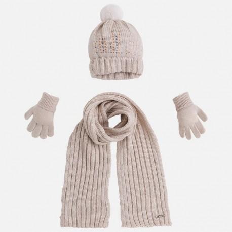 e0d8543d30 Mayoral 10292-65 Komplet czapka szalik rękawic kolor Marcepan