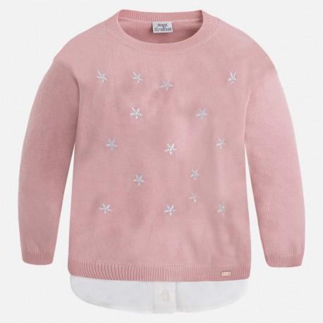 Mayoral 4325-45 Sweter trykot koszulkowy kolor Jasny róż.
