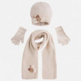 Mayoral 10291-56 Komplet czapka szalik rękawiczki kolor Marcepan