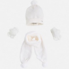 Mayoral 10293-69 Komplet czapka szalik rękawic kolor Kremowy