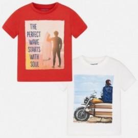 Mayoral 3089-10 Zestaw 2 koszulki chłopięce krótki rękaw kolor czerwony