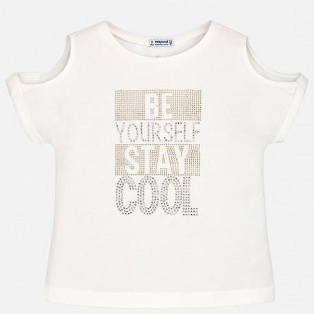 Mayoral 6016-48 Koszulka dziewczęca krótki rękaw kolor Kremowy