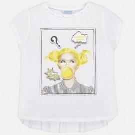Mayoral 6038-26 Koszulka dziewczęca kolor biały/czarny