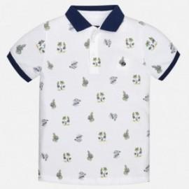 Mayoral 6128-11 Koszulka chłopięca polo krótki rękaw nadruk kolor Biały