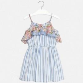 Mayoral 6952-19 Sukienka dziewczęca wzory paski kwiat kolor Niebieski