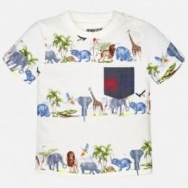 Mayoral 1058-24 Koszulka krótki rękaw paski zwierzęta kolor śmietanka