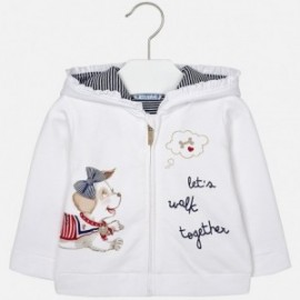 Bluza dziewczęca z nadrukiem kolor biały/granat