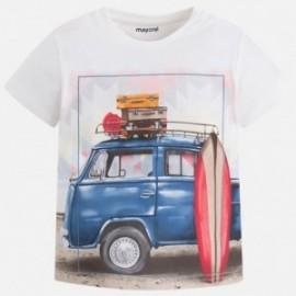 "Mayoral 3091-77 Koszulka chłopięca krótki rękaw ""van"" kolor śmietanka"