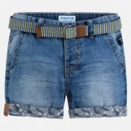 Mayoral 3252-28 Bermudy chłopięce chino z paskiem jeans kolor niebieski
