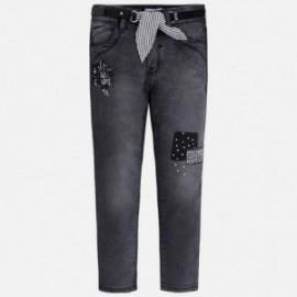 Mayoral 3504-64 Spodnie dziewczęce z paskiem jeans kolor Czarny