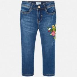 Mayoral 3512-68 Spodnie dziewczęce długie jeans z haftem kolor niebieski