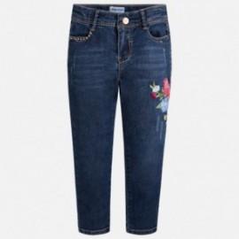 Mayoral 3512-69 Spodnie dziewczęce długie jeans z haftem kolor granat