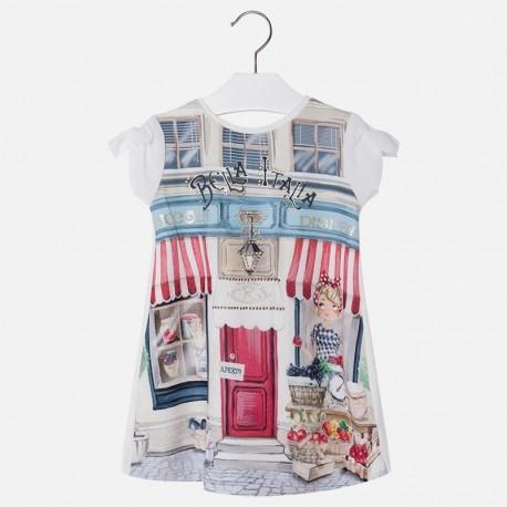 Mayoral 3968-84 Sukienka dziewczęca kolor Kremowy