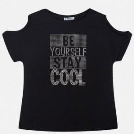 Mayoral 6016-51 Koszulka dziewczęca z krótkim rękawem dżety kolor Czarny