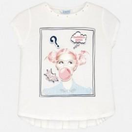 Mayoral 6038-24 Koszulka dziewczęca kolor kremowy/granatowy
