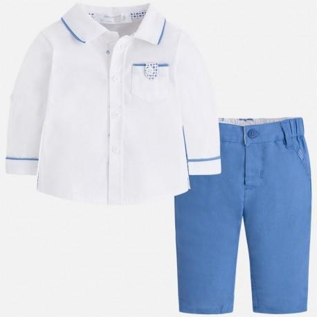 Mayoral 1520-63 Komplet chłopięcy koszula i spodnie kolor niebieski