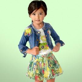 Mayoral 3416-83 Kurtka dziewczęca jeans z haftem kolor niebieski
