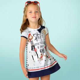 Mayoral 3958-79 Sukienka dla dziewczynki kolor Granat